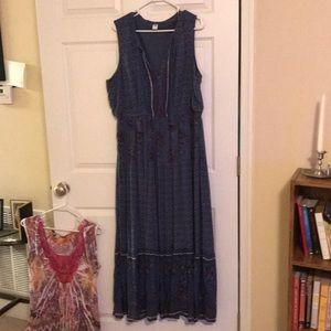 Cornflower blue sleeveless maxi dress